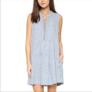 Free People Poppin' off lace up striped dress